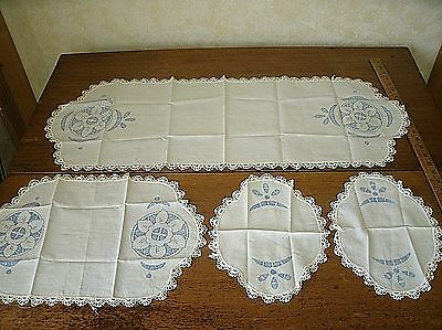 Vintage crochet lace embroidered Table Runner Doily Set BLUE (RU14)