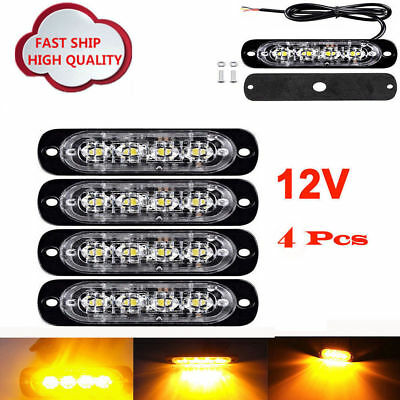 4X 6 Led Recovery Strobe Amber Flashing Light Breakdown Lamp Grill 12/24V