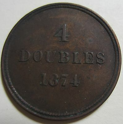 1874 Bailiwick of Jersey (Guernsey) Four DOUBLES Coin. BETTER GRADE (W1727)