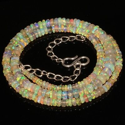 42 Ct Natural Ethiopian Welo Fire Opal Smooth Rondelle Beads Necklace 9387