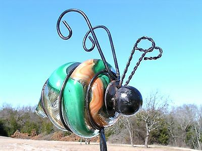LARGE Iron Bumble Bee Garden Stake Hand Blown Caged glass 0078