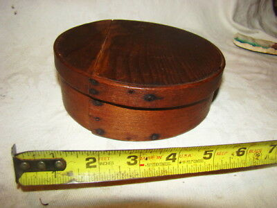 """Antique Round Early Natural Dark Pantry Box Attic Finish Early Nails 6 1/4"""" Dia"""