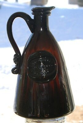 Star Whiskey New York W.b. Crowell 1850's Handle & Seal Bottle From 1974