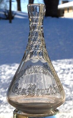 Appetine Bitters Geo Benz & Sons Backbar Decanter W/ Gold Filled Lettering
