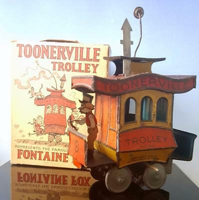 1922 Nifty Borgfeldt TOONERVILLE TROLLEY Tin Wind Up GERMANY~Fontaine Fox COMIC