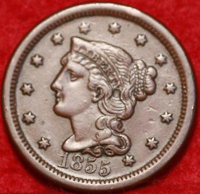 1855 Philadelphia Mint Copper Braided Hair Large Cent Free S/H