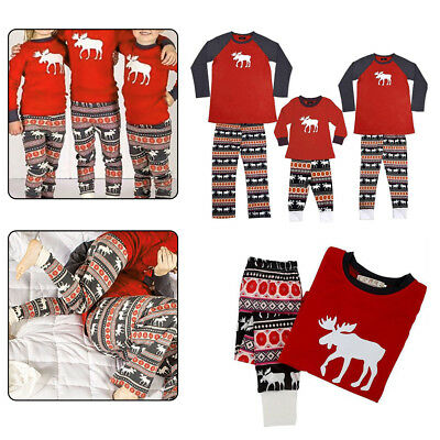 Family Matching Christmas Pajamas Set Baby Kids Deer Sleepwear Nightwear Gift US