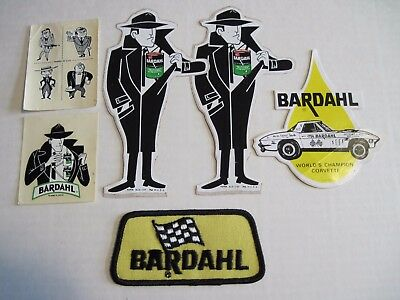 Vintage BARDAHL Agent Man Stickers, Decals, and Patch NOS  FREE SHIPPING in US