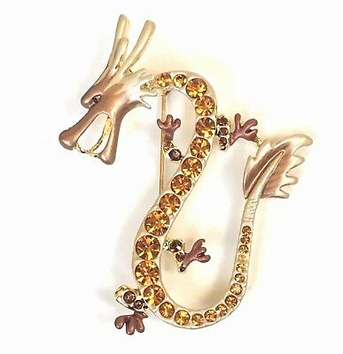 New Dragon Large Pin Pendent Gold Swarovski Crystal Jeweled By Rucinni Beaut!