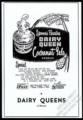 1951 Dairy Queen ice cream Cocoanut Isle Sundae unusual Hawaii print ad