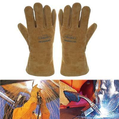 Men's Work Welding Gloves Cow Leather Heat Resistant Security Protection Wear