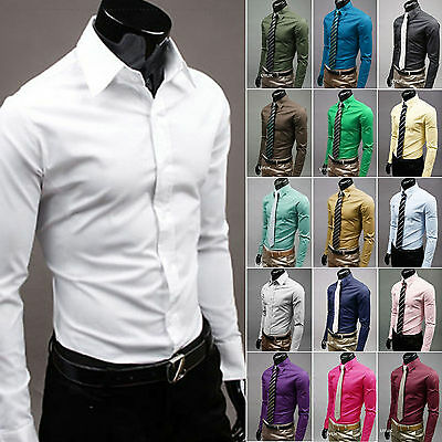 Mens Formal Dress Shirt Slim Fit Tee Business Long Sleeve Work Solid Casual Tops