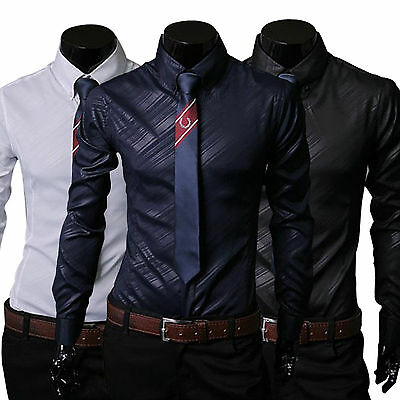 Mens Luxury Business Dress Shirt Formal T Shirt Slim Fit Long Sleeve Glossy Top