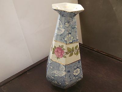 ?vintage  6 Sided Delton Ware Vase With A Blue And White Bird & Floral Pattern