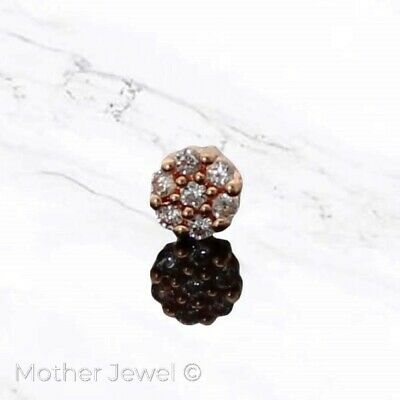 20G Simulated Diamond Pave Daisy 14K Rose Gold Ip Bone Nose Piercing Stud