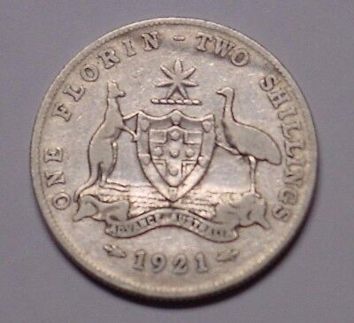 1921 Australian florin, decent detail remains, near Fine & scarce.
