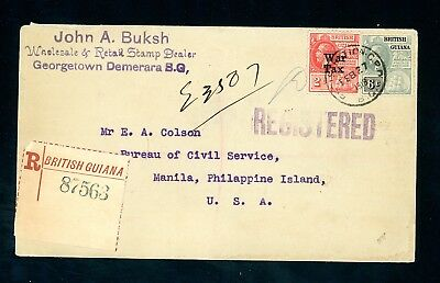 British Guiana 1918  Registered Cover to USA with 2c War Tax Issue  (D863)