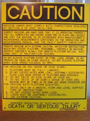 """Genie """"CAUTION"""" NAMEPLATE decal label #3252061 (S-97)"""