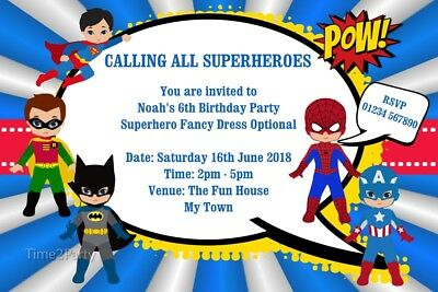 Personalised Superheroes Birthday Party Invitations