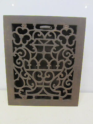 Vintage Cast Iron Floor Grate w/Damper Flower Basket Design  ASG#28