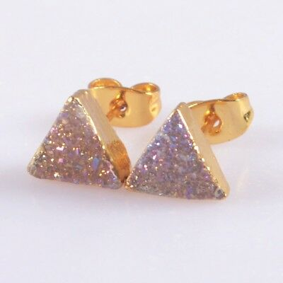 8mm Triangle Natural Agate Druzy Titanium AB Stud Earrings Gold Plated H105526