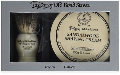 Taylor of Old Bond Street Pure Badger Brush and Sandalwood Bowl Gift Box Set