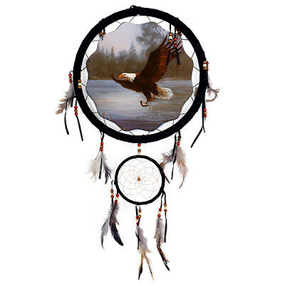 """13"""" Flying Eagle Dream Catcher Wall Hang Decor Feathers & Beads Gift DCB1337"""