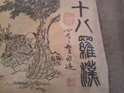 Antique  Long  Chinese   Scroll  Of  Buddhas