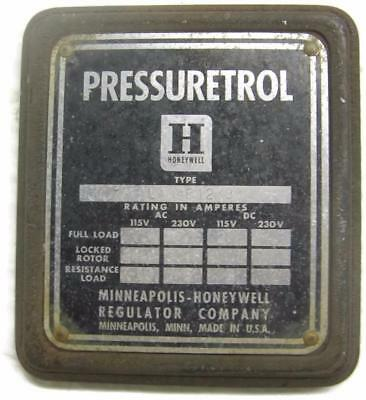 Vintage Honeywell Mercury Tilt Switch Box Cover Name Plate Tag - Industrial
