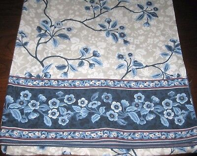 Unused Vintage WAMSUTTA Supercale Blue Floral FULL Size FLAT SHEET Made in USA