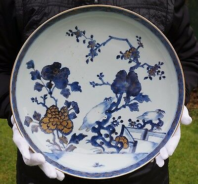 RARE HUGE Antique Chinese Porcelain Blue and White Plate Charger 18thC YONGZHENG