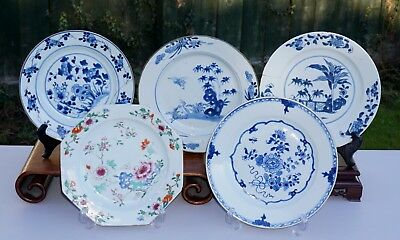 5 x Chinese Antique Porcelain Famille Rose Blue and White Plate Dish 18th C