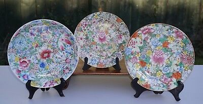 3x Antique Chinese Porcelain Famille Rose Millifleur Plate Dish Guangxu M 19th C