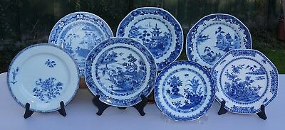 7 x Antique Chinese Blue and White Porcelain Dish Plate Charger 18th C Qianlong