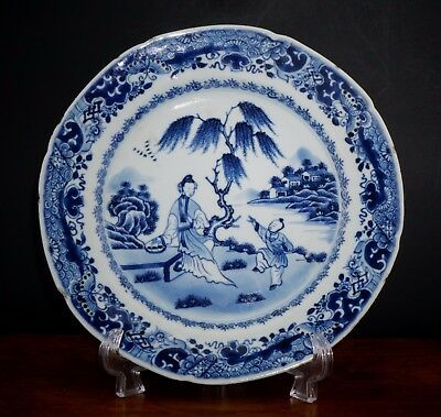 FINE Antique 18th C Chinese Blue and White Porcelain Figure Plate QIANLONG