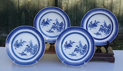 FINE 4 x Antique 18th C Chinese Blue and White Porcelain Charger Plate Dish
