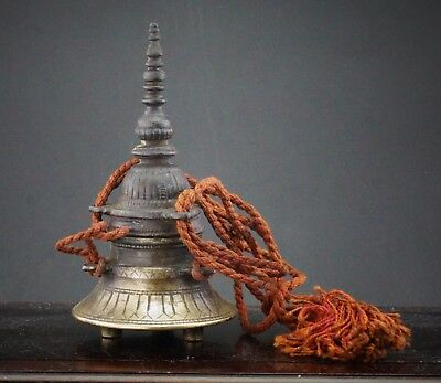 RARE Antique Chinese Tibetan Bronze Stupa Temple Inkwell 18th/19th Century