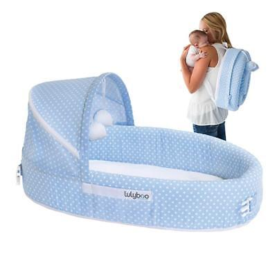 Lulyboo Baby Lounge and Travel Bed To-Go - Blue Dot