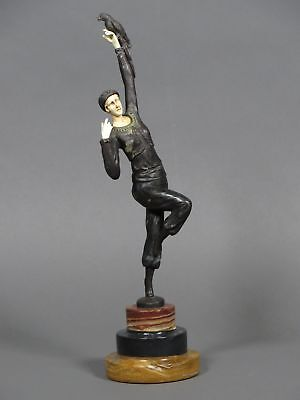 Vtg French Bronze Art Deco Dancing Woman Statue w/ Onyx Base Signed P. Philippe