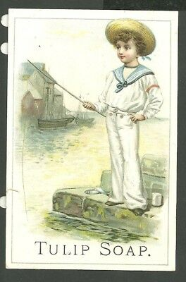 1880's Advertising Victorian Trade Card Tulip Soap Fishing