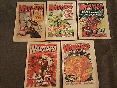 5 x Vintage 'Warlord' Comics Issues #2, 3, 4, 5, 6 (Oct-Nov1974)