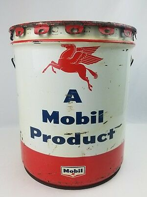 Vintage Advertising Mobil Oil Pegasus 5 Gallon grease can w/ lid double graphics