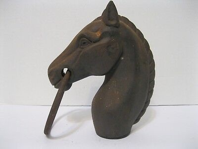 """Vintage Cast Iron Hitching Post Horse Head w/Ring - Actual Weight 5 lbs - 8.5"""" h"""