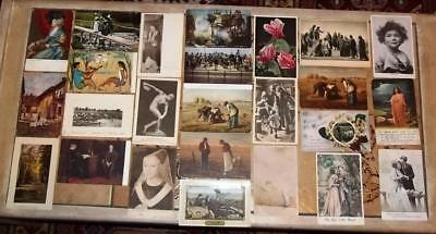 VINTAGE POSTCARDS, MIXED, c1910-40, LOT OF 25 CARDS (2)