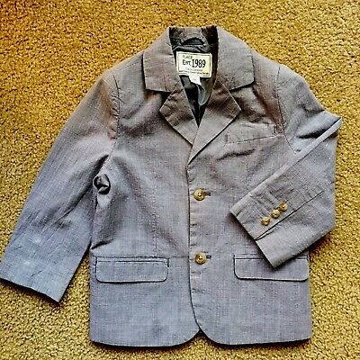 Boys Size 3 dress Suit jacket.  Navy Blue and White Check. Ties. Blazer