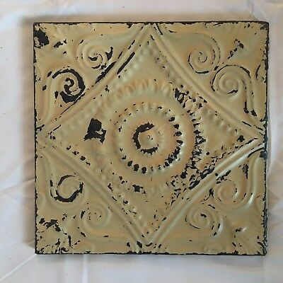 "11"" x 11 Antique Tin Ceiling Tile Wrapped Frame Anniversary Sage Green 704-17"