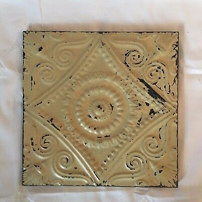 """11"""" x 11 Antique Tin Ceiling Tile Wrapped Frame Anniversary Sage Green 719-17"""