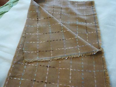 "Wool or wool blend fabric-tan with metallic check pattern -1 yd 15"" x 58"""