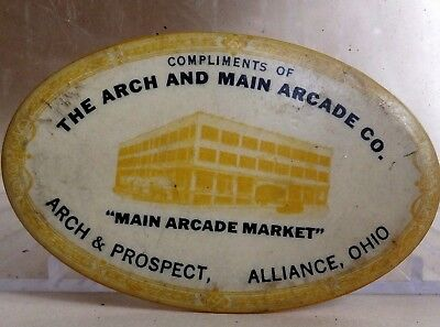 """Vintage Mirror """" The Arch and Main Arcade Co. '' Arch & Prospect, Alliance, Ohio"""