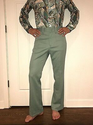 NEW Vtg 70s Mens 32 34 Green MAVERICK Polyester DISCO Flare Leg Suit pants MOD